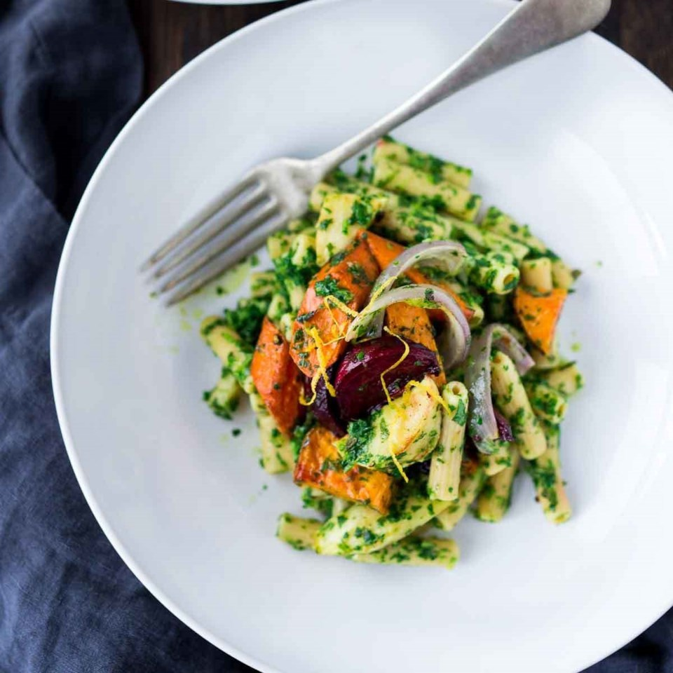 Chickpea Pasta with Lemony-Parsley Pesto, Flat-Belly Salad