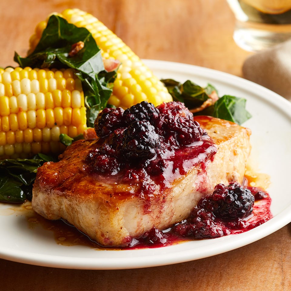 Blackberry BBQ Pork Chops with Collards & Corn