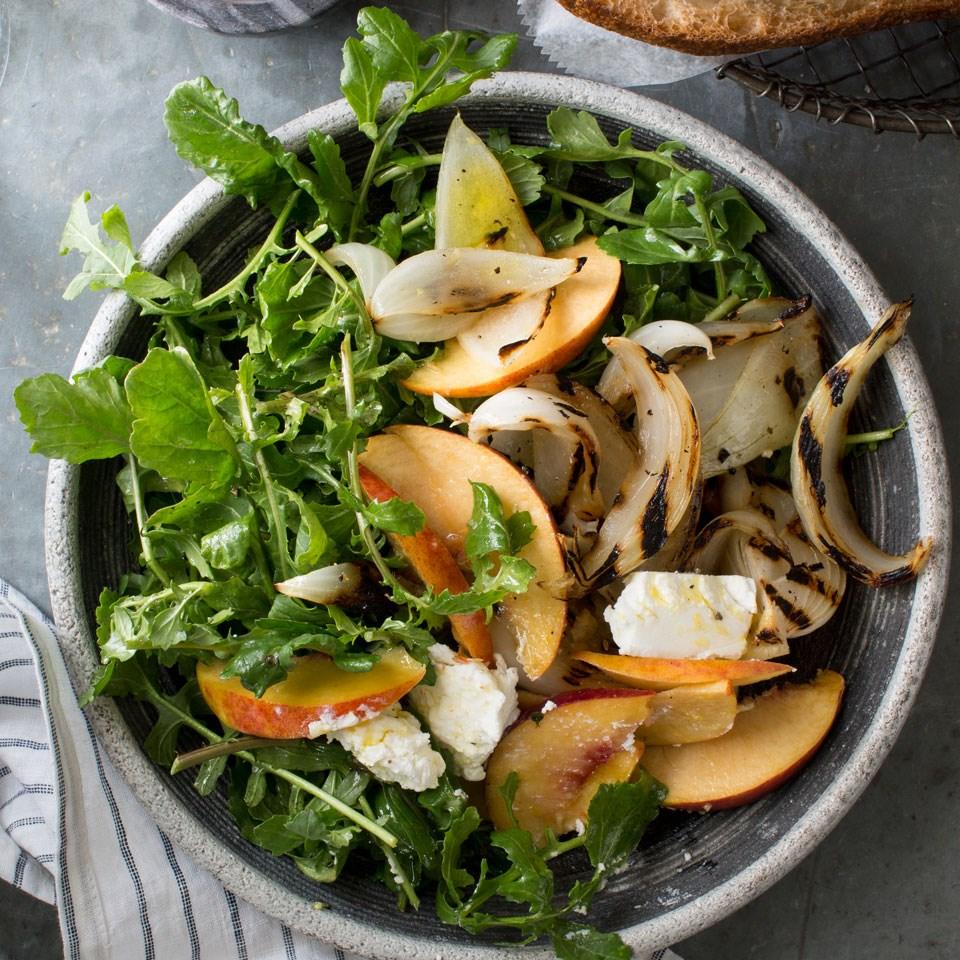 Steven Satterfield's Grilled Vidalia Onion, Peach & Arugula Salad