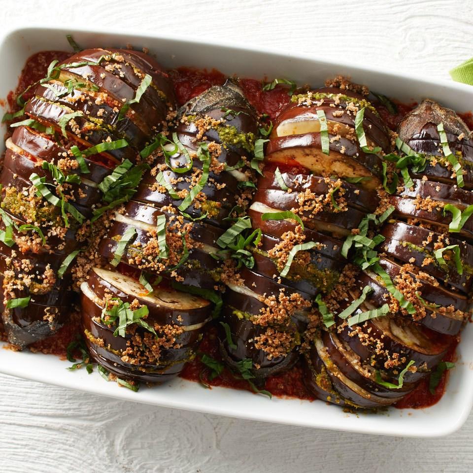 Hasselback eggplant parmesan recipe eatingwell for Aubergine cuisine
