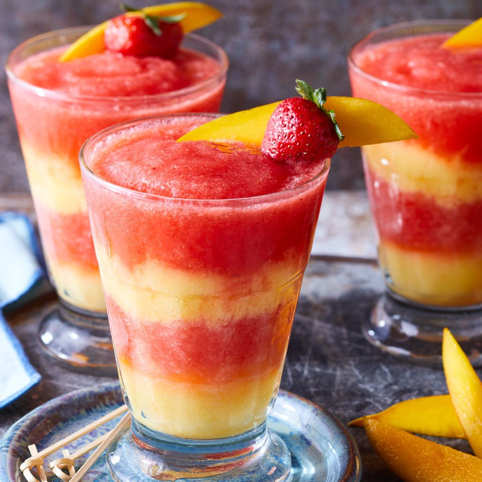 Layered Strawberry-Mango Margaritas Recipe