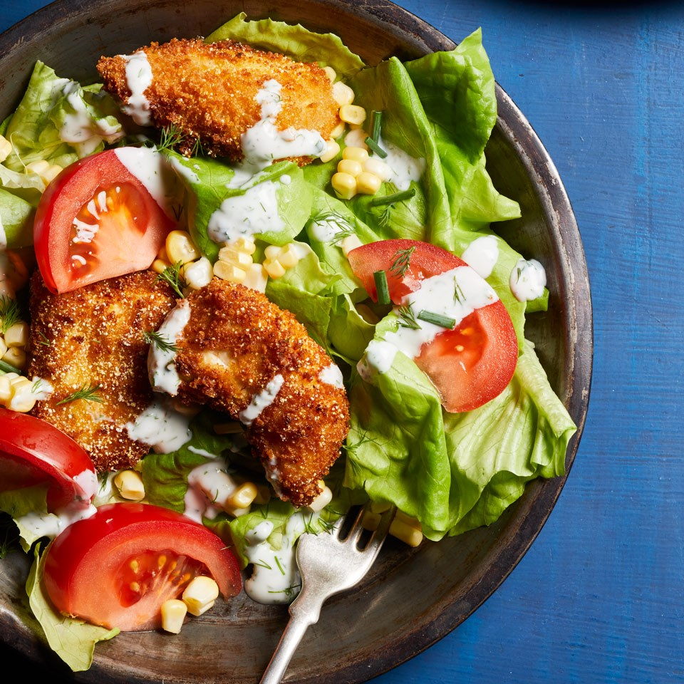 Fried Chicken Salad With Buttermilk Dressing Recipe