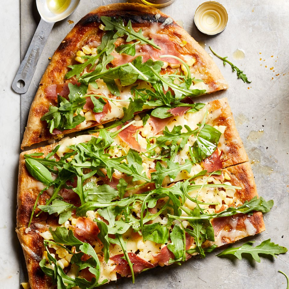 Grilled Pizza with Prosciutto, Corn & Basil