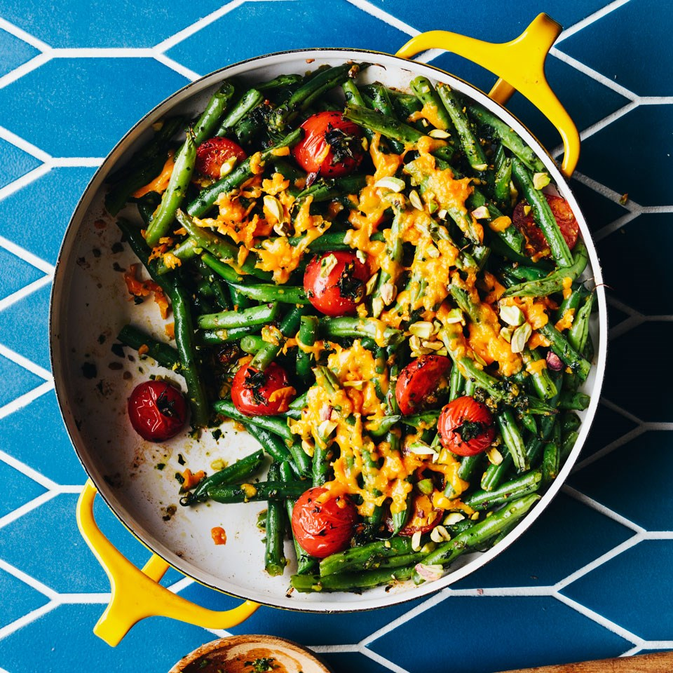 Tomato & Green Bean Casserole With Spicy Herb Pesto Recipe