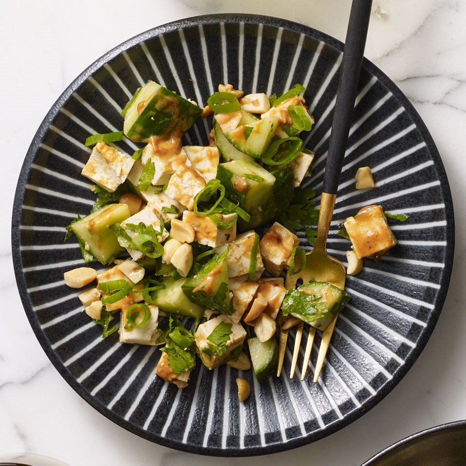 Tofu Cucumber Salad with Spicy Peanut Dressing