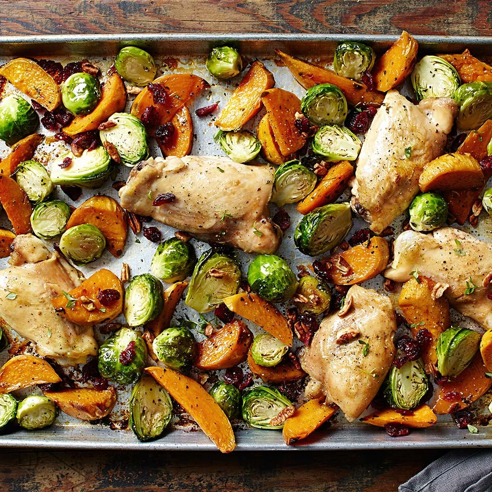 Maple roasted chicken thighs with sweet potato wedges and for Chicken and brussel sprouts skillet
