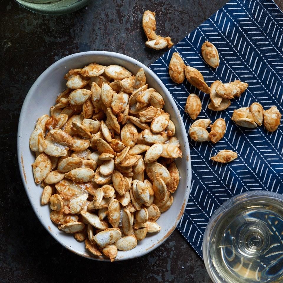 Garlic-Parmesan Roasted Pumpkin Seeds