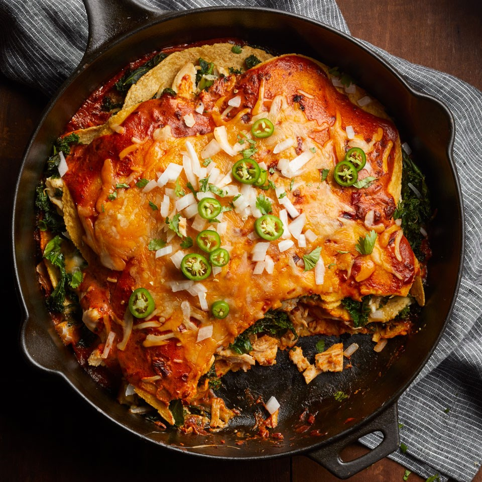 Adobo Chicken & Kale Enchiladas