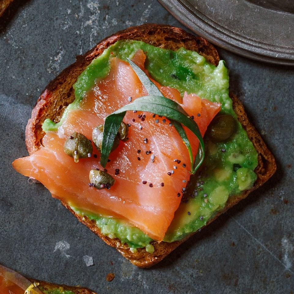Smoked Salmon Amp Avocado Toasts Recipe Eatingwell