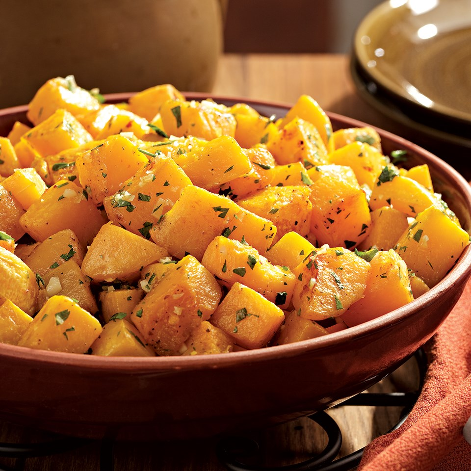 Xmas Dinner In Small Oven: Oven-Roasted Squash With Garlic & Parsley Recipe