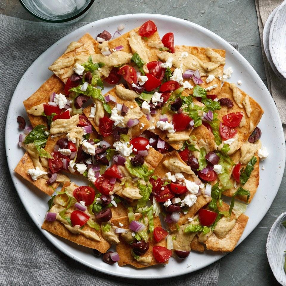 greek salad nachos recipe   eatingwell