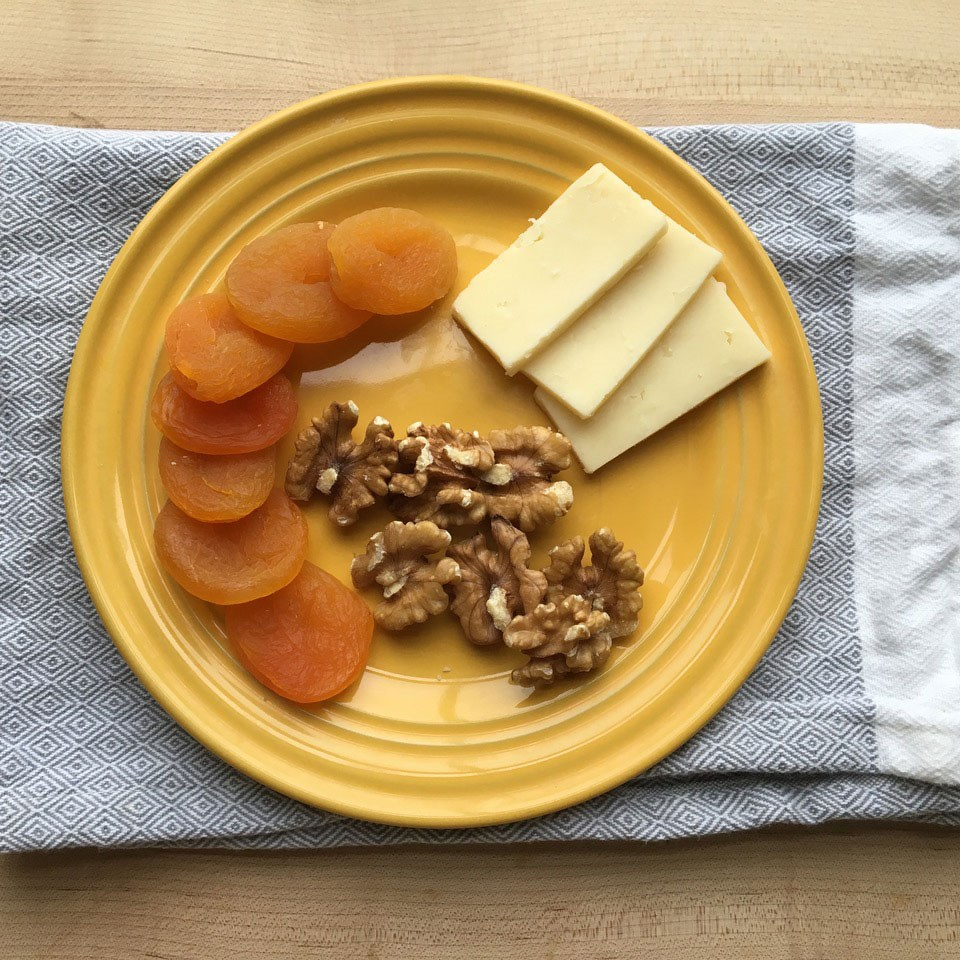 Apricots with Walnuts & Cheese