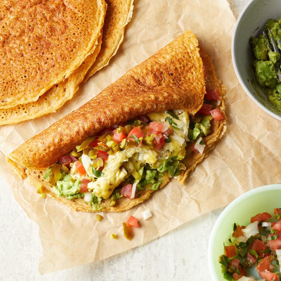Egg & Avocado Pancake Breakfast Wraps