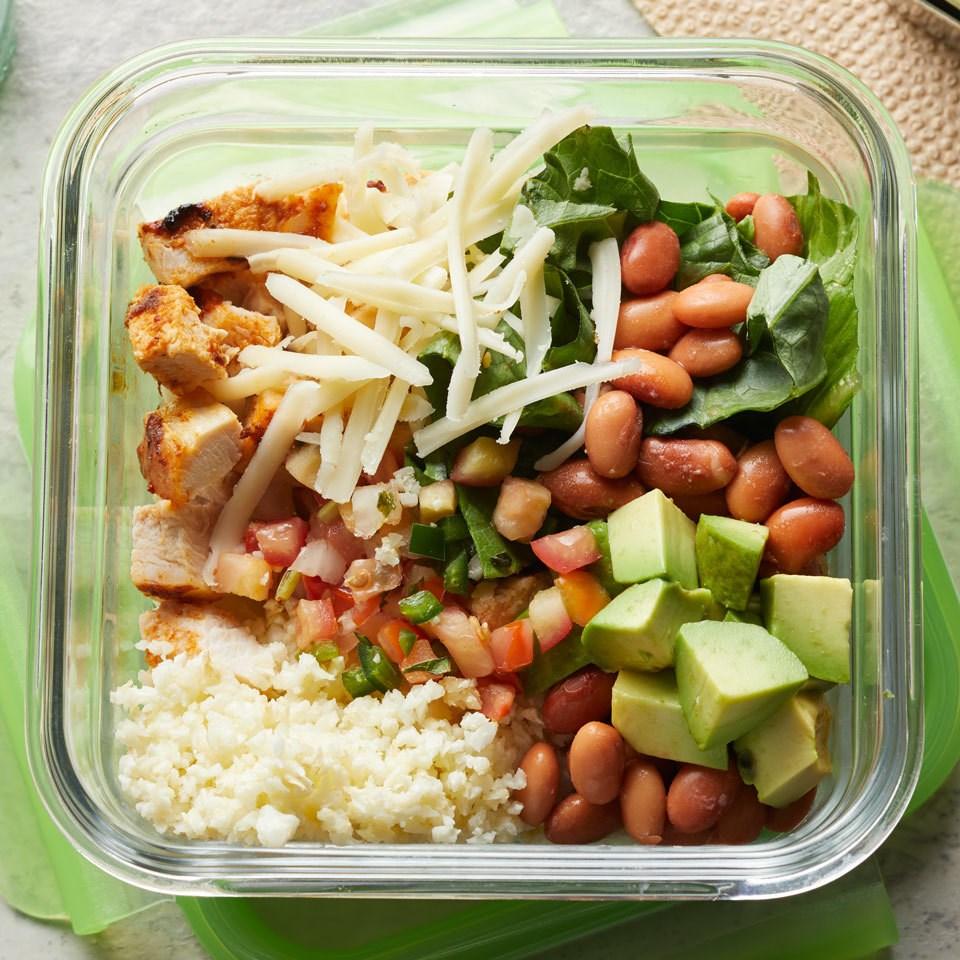 Chipotle Chicken Burrito Bowl with Cauliflower Rice