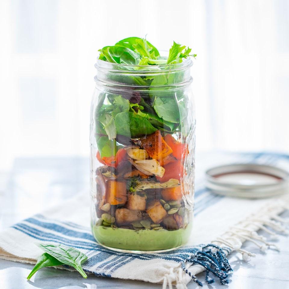 Roasted Veggie Mason Jar Salad