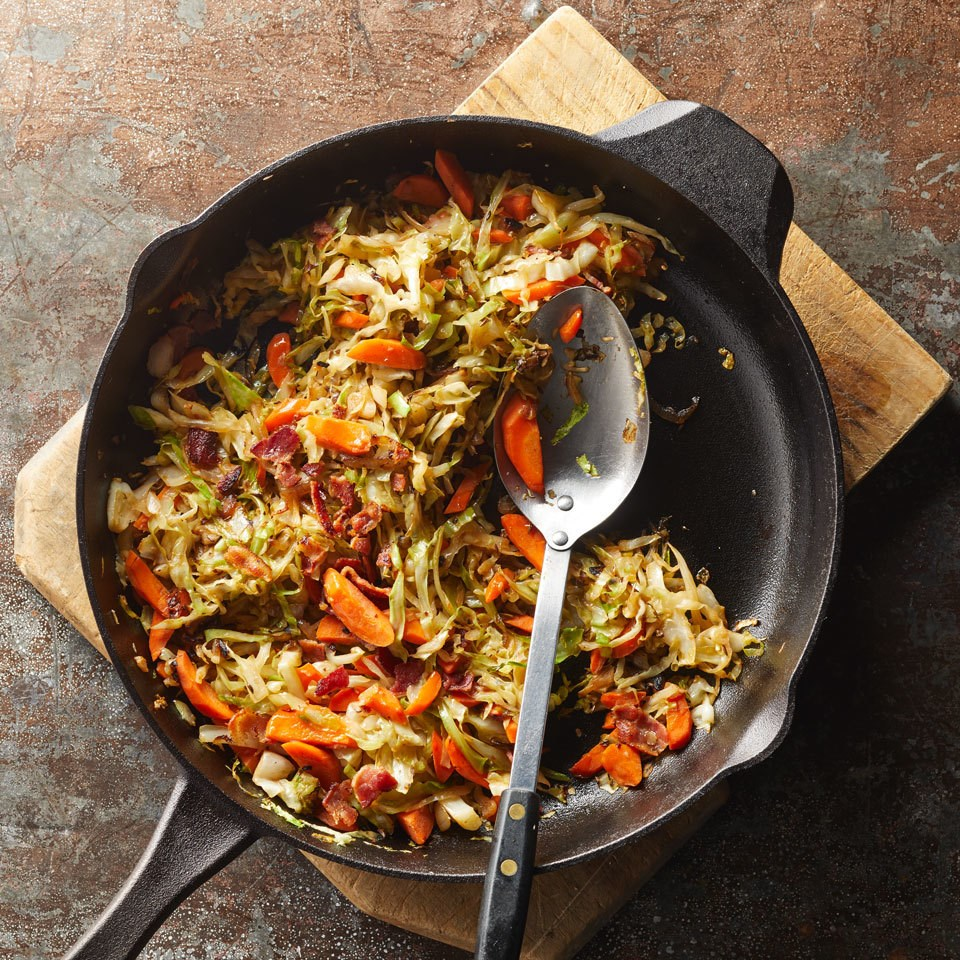 Pan-Fried Cabbage with Bacon & Shallot