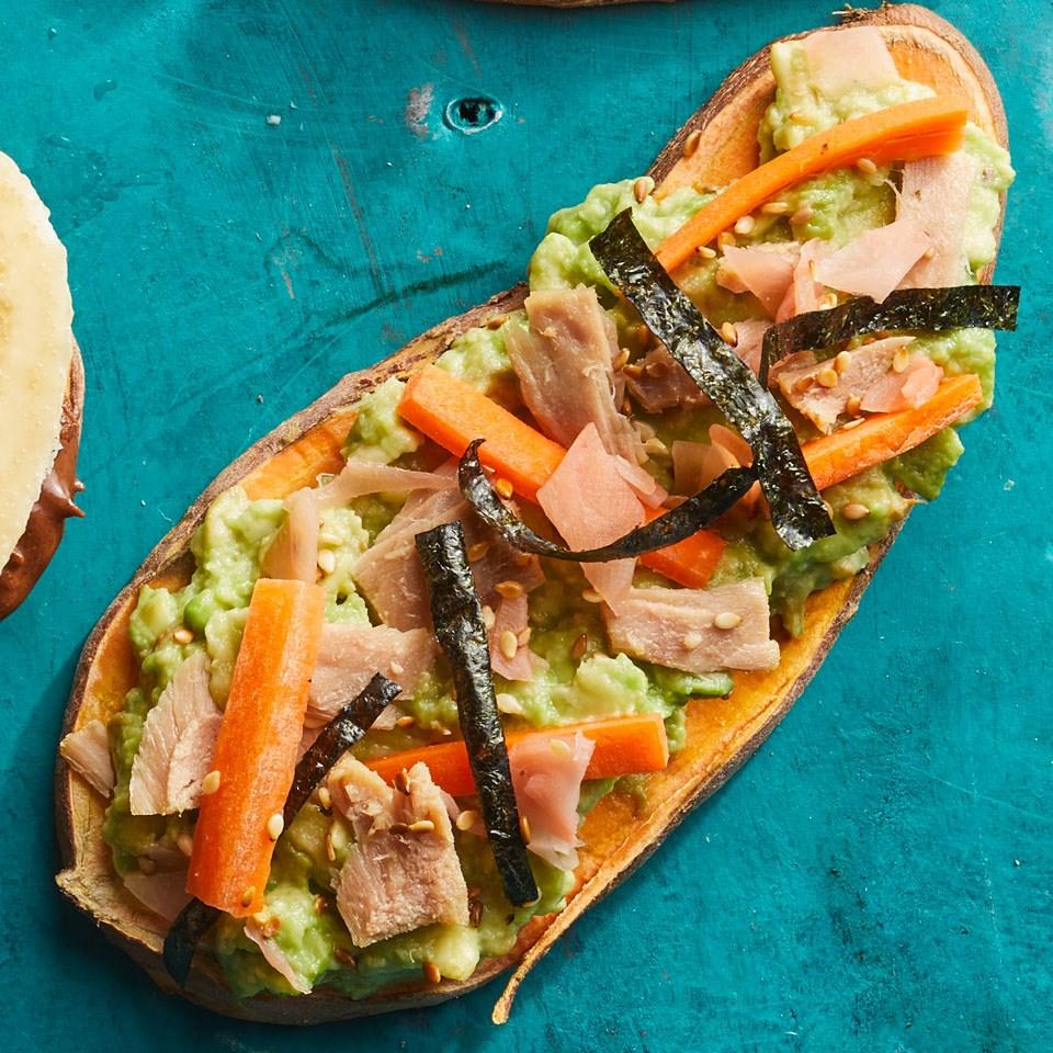 Tuna Avocado Sweet Potato Toast