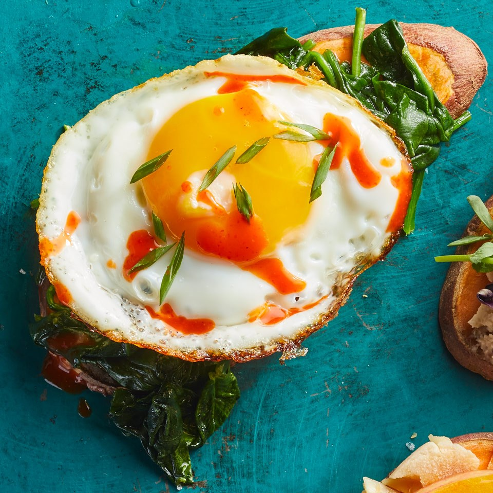 Spinach & Egg Sweet Potato Toast Recipe - EatingWell