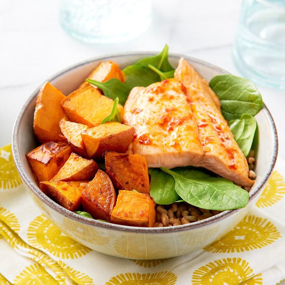 Salmon Sweet Potato Buddha Bowls