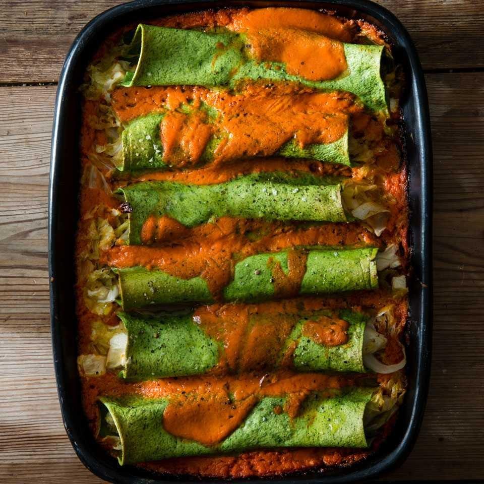 Spinach Cannelloni with Cabbage & Smoked Mozzarella
