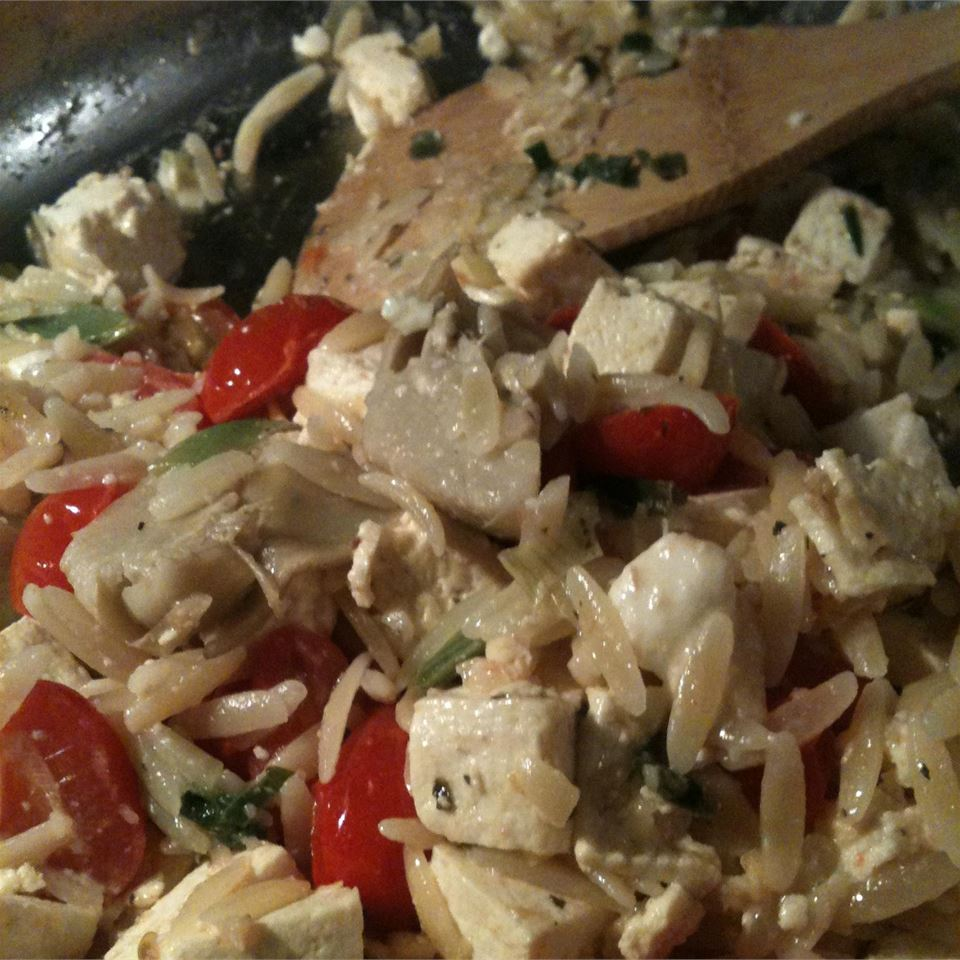 Orzo with Tomato and Fried Tofu Jamie Justice Yost