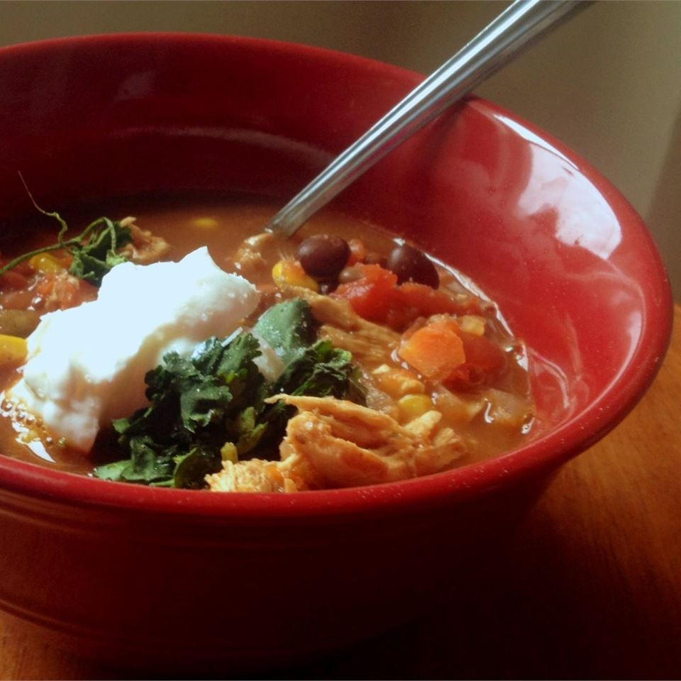 Healthier Slow Cooker Chicken Taco Soup